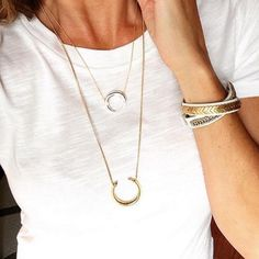 Shop Women's Stella & Dot Gold size OS Necklaces at a discounted price at Poshmark. Stella Dot, Dots Fashion, Stella And Dot Jewelry, White Tees, A Boutique, Pendant Necklace, My Style, How To Wear, Florida Outfits