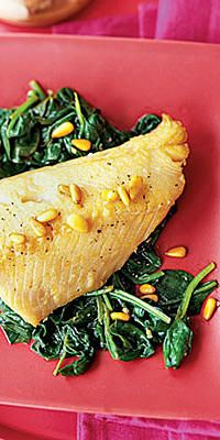 Cod With Pine Nut Brown Butter and Garlicky Spinach  - If you're sick of soups and can't stand another chicken casserole, sample these 24 fantastic fish recipes.