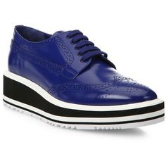 Prada Leather Brogue Platform Oxfords