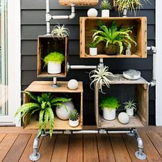 How-To: DIY shelving for your backyard, featuring Kokedama from The Sill, via Sunset Magazine