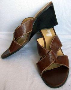 LIZ CLAIBORNE Brown Leather Criss Cross ASPEN Curved Wedge Heels Sandals 9.5 #LizClaiborne #Platforms #Wedges