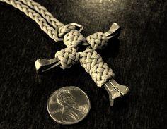 Horseshoe nails cross with Gaucho knots