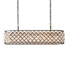 This beautiful rectangular crystal chandelier will surely update any rectangular glass chandelier bronze iron rectangular crystal drop chandelier pendant lighting light aloadofball Images