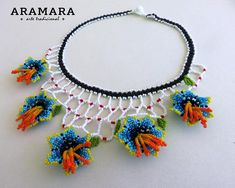 The Snake, Flower Necklace, Crochet Necklace, Huichol Art, Mexican Jewelry, Bead Art, Bead Weaving, Seed Beads, Nativity