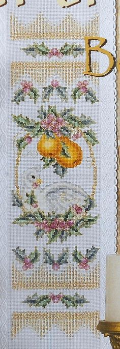 Pamela Kellogg PARTRIDGE in PEAR TREE Bellpull - Counted Cross Stitch Pattern Chart - fam. $6.75, via Etsy.
