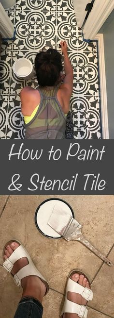 painting tile floors How to paint and stencil tile floors using Cutting Edge Stencils DIY tile stencil patterns Painting Tile Floors, Painted Floors, Painting Ceramic Tile Floor, Painted Wood, Stencil Diy, Stencil Painting, Stenciling, Tile Stencils, Azulejos Diy