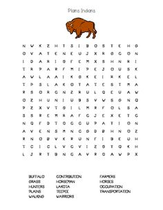 I made this for my students as a fun way to expose the kids to the essential vocabulary they need when learning about the Native American tribe that lived on the plains. A good introduction or way to wrap up the unit! My students love word searches!