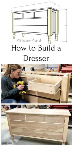 Want to build your own DIY Dresser? This step by step tutorial and video will show you how to build this one with stylish legs and plenty of storage. Diy Furniture Plans Wood Projects, Woodworking Furniture Plans, Woodworking Projects Diy, Woodworking Shop, Furniture Storage, Building Furniture, Money Making Wood Projects, Handmade Wood Furniture, Corner Furniture
