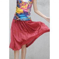 $6.62 Ladylike Elastic Waist Beach Ramie Skirt For Women