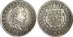 Silver Thaler depicting Ferdinand II Holy Roman Emperor,King of Hungary and King of Bohemia 1626