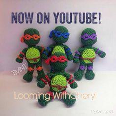 Rainbow Loom Teenage Mutant Ninja Turtles - 1 of 3 - Looming WithCheryl  (Looming With Cheryl) TMNT Loomigurumi / Amigurumi Tutorial is Now on YouTube! Charms / figures / gomitas / gomas / animals / Donkey. Crochet hook only / Amigurumi. Please Subscribe ❤️❤ m.youtube.com/user/LoomingWithCheryl