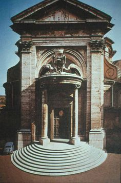 San Andrea al Quirinale, Rome, by Bernini.  A good example on how logical boundries are exceeded: the stairs flow out of the building and invade the piazza