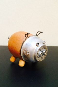 PIG !  Here's a guy gift for the BBQ lover.  ha ha Connie Grier Sculpture from LovableLeftovers on Etsy Assemblage Art