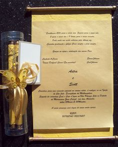 Ref Fancy scroll Yellow In Tube ( We can do any colour) www.weddingcards.co.za Scroll Invitation, Tube, Wedding Invitations, Reception, 1, Fancy, Colour, Yellow, Books