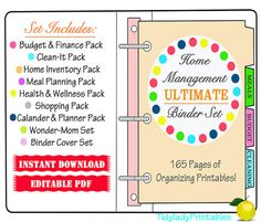 Printable Organizer Sheets - Home Management Binder- INSTANT and EDITABLE 165 Documents