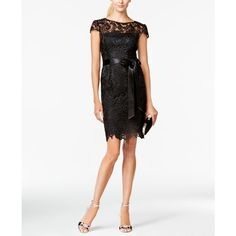 Adrianna Papell Lace Cap-Sleeve Illusion Sheath Dress ($189) ❤ liked on Polyvore featuring dresses, black, paisley dress, floral sheath dress, adrianna papell dress, paisley print dresses and lacy dress