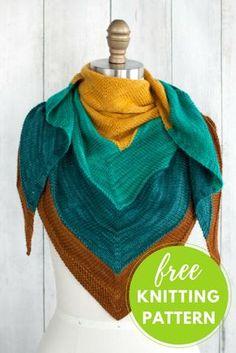 Islamorada shawl free knitting pattern | Colorblock Shawl project in Manos Alegria Yarn