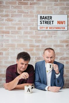 "williamanyascottholmes: "" notfspurejam: "" @DarrynKing: Fabulous pic of Gatiss and Moffat by @boudist. Kitchen wall backdrop courtesy of BBC Worldwide's Sydney offices "" why A and T """