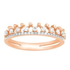 1/4 Ct Round Genuine Diamond Beaded Wedding Band Ring Solid 10k Rose Gold NEW #CaratsForYou #Band #MothersDay