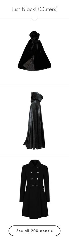 """Just Black! (Outers)"" by ck0427 ❤ liked on Polyvore featuring outerwear, coats, jackets, cape, dresses, cape coat, capes, cloaks, tailored coat and sale"