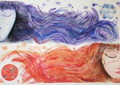 #art #hebanaluna #Drawing #illustrations #bipolar #abyss #cosmos Mira este artículo en mi tienda de Etsy: https://www.etsy.com/es/listing/246327379/luna-roja-luna-azul-acuarela-a3