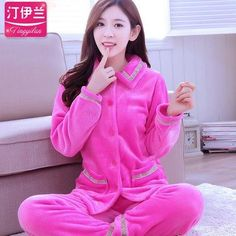 71be5464b New Autumn winter flannel pajamas thickening women sets sleepwear sweet female  girl flowers printing Indoor Clothing Home Suit
