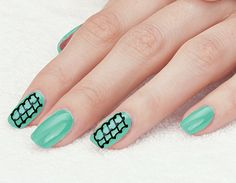 Blue Nails Black Art with Toothpick