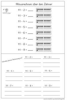 Arbeitsblätter Zehnerübergang, Addieren über den Zehner, Zahlenraum ...