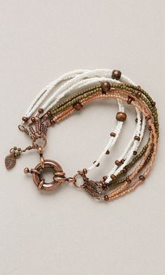 Multi-Strand Bracelet with Seed Beads, Wood Beads and Copper Findings - Fire Mountain Gems and Beads