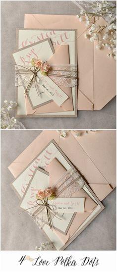 Romantic Peach calligraphy wedding invitation #wedding #peach #floral #flowers #calligraphy #lace #weddingideas
