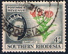 Southern Rhodesia 1953 QE II SG 82 Lily Flower Fine Used Scott 85 Other Rhodesian Stamps HERE