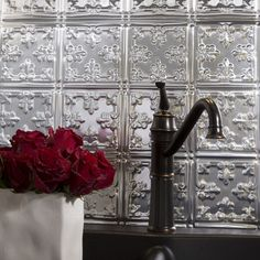 Decorative Thermoplastic Backsplash Panels For Use In Kitchens And  Bathrooms Provide The Classic Look Of Tradi