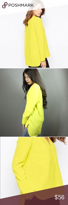 "🆕chic yellow blouse ❤💋 Gorgeous yellow blouse. Made out of chiffon polyester materials. V neck line and long sleeves. MEASUREMENTS: 💚SMALL: bust: 35"" shoulder width: 13.9"" sleeve length: 22"" front length: 25"" back length: 29"" 💚MEDIUM: bust: 37"" shoulder width: 14.3"" sleeve length: 22.8"" front length: 25.9"" back length: 29.7""💚 LARGE: bust: 38.5"" shoulder width: 14.7"" sleeve length: 23.2"" front length: 26.5"" back length: 30.3""💚the sleeves zip up Dorimas Closet Tops Blouses"