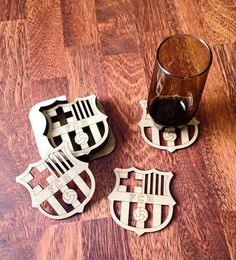 FC Barcelona Coasters Sports Team Coasters laser cut by NudoDiseno