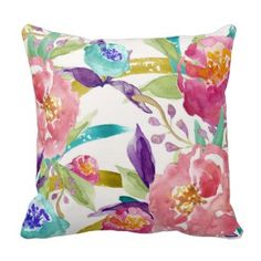 Garden Watercolor Floral Pillow - beautiful spring floral design in watercolor painting shades of turquoise, pink, purple and green