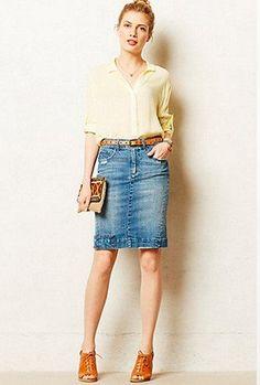 denim skirt, blouse (orange), blue open toe lace up heels
