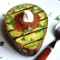 Grilled Avocado with Salsa...what a great side with enchiladas or Jquesedillas! Gorgeous to look at, too. Imagine a plateful on a buffet table!