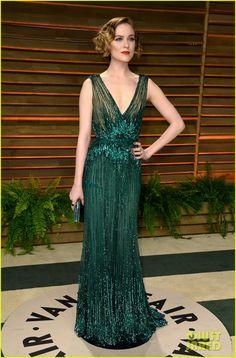 Evan Rachel Wood in Elie Saab at the 2014 at Vanity Fair Oscars party