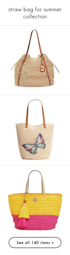 """""""straw bag for summer collection"""" by msdanasue ❤ liked on Polyvore featuring bags, handbags, tote bags, natural, straw tote, weekender tote bag, lightweight tote bag, overnight bag, white purse and purses"""