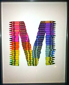 crayon letter art i hot glued crayons to card stock and placed it into a