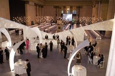 12 Ideas From Events With All-White Decor- The Joffrey Ballet's 2010 spring gala had a modern look, with abstract fabric sculptures that hovered over the cocktail tables and formed a barrier between the reception area and dinner tables.
