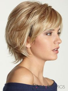 Human Hair Graceful Short Wavy Blonde 10 Inch Wigs