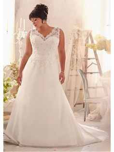 Graceful Chiffon & Tulle & Satin V-neck Natural Waistline A-line Plus Size Wedding Dress