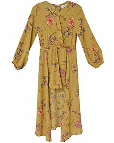 This stunning romper has a floor length flyaway skirt back which is as breathtaking as it is darling! FIT: This item is true to size. Rompers For Kids, Tween Fashion, Mustard, Chiffon, Jumpsuit, Delicate, Floral, Skirts, Fabric