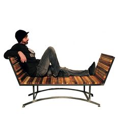 Bench, wood and metal, double sided