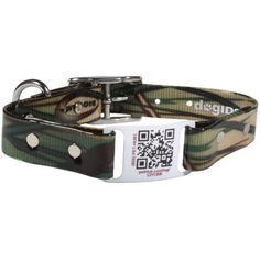 Camouflage QR Code ScruffTag Dog Collar - scan with smartphone to your dog's profile page! $34 at www.dogids.com