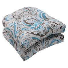 Outdoor 2-Piece Wicker Seat Cushion Set - Grey/Turquoise Paisley