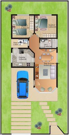 Para mi casa p alomar Sims House Plans, Small House Floor Plans, Duplex House Plans, Narrow House Designs, House Construction Plan, Model House Plan, Simple House Design, House Map, Small Modern Home