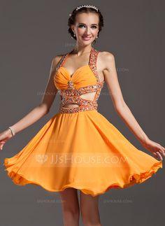 Homecoming Dresses - $139.99 - A-Line/Princess Halter Knee-Length Chiffon Homecoming Dress With Ruffle Beading (022007283) http://jjshouse.com/A-Line-Princess-Halter-Knee-Length-Chiffon-Homecoming-Dress-With-Ruffle-Beading-022007283-g7283