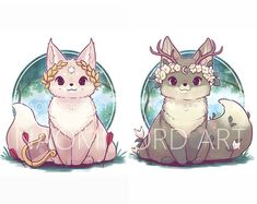 Kawaii Yin and Yang Foxes Stickers and/ or Prints Cute Kawaii Animals, Cute Animal Drawings Kawaii, Kawaii Art, Cute Baby Animals, Cute Drawings, Cute Fantasy Creatures, Cute Creatures, Cute Fox Drawing, Equipe Pokemon